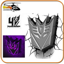 Luminaria 3D Light Transformers Escudo Decepticon com Led